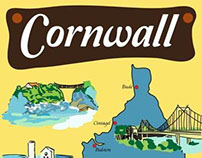 Illustrations for Tea towel souvenirs of Cornwall