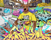 Graffiti Illustration for Woodland Skates