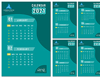 abstract modern geometric calendar 2021 template