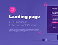 Landing Page. Live broadcast provider