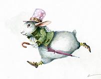 """""""Вдруг мимо пробежал белый кролик с красными глазами."""""""