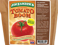 Tomato Boom - Tomato Fertilizer Packaging and Ad