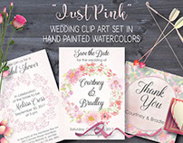 Watercolor clip art bundle: 'Just Pink'