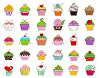 30 Hand Drawn Cupcakes