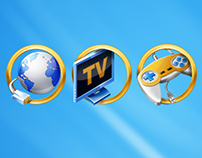 Golden icons for entertainment portal