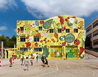 Healthy school mural, preventing childhood obesity