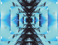 blue sky black palm leaf background