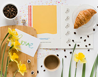 Yellow spring flat lay