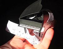 Handmade paper piano in a box, gift idea