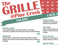 The Grille @ Pine Creek Menu