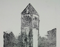 Clock Tower Monotype Print