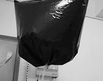 flying black plastic bag