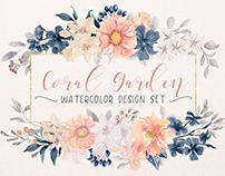 """Coral Garden"" watercolor design set"