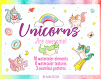 Unicorn Set - 27 high quality watercolor elements