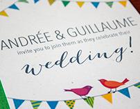 Andrée & Guillaume's Cottage Wedding Invitation