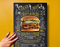 Vintage Lettering Burger Flyer