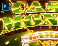 [DOWNLOAD PSD] ONLINE CASINO GAMES LOGO AND TEXT EFFECT
