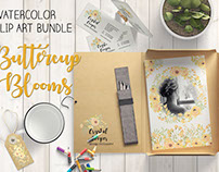 'Buttercup Blooms': watercolor clip art bundle