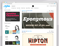 MyFonts home page and navigation