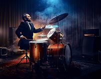 Bombadier Beer/blind drummer