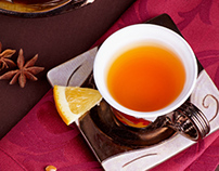 Table appointments. Tea with anisу and orange.