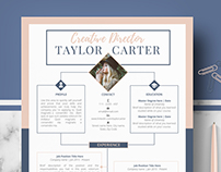 Creative Resume template - Creative CV template -Taylor
