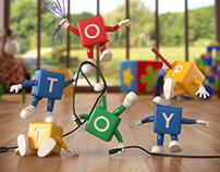 3d Top Toy Scene