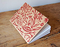 Woodland Block Printed A6 Blank Sketchbook
