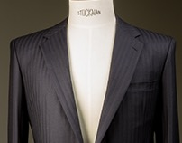 Navy Herringbone Suit With Notched Lapels
