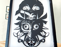 Majora's Mask hand cut silhouette paper