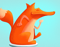 Product illustration for kids - fox & jukebox