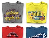 Resort + Collegiate t-shirt designs
