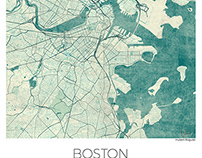 Boston Map Blue Vintage,US