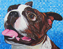 Brindle Boston Terrier - Made with Recycled Material