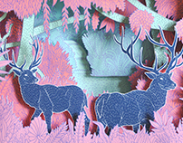Pink Jungle Deer Shadow Box