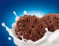 chocolate cookies with cream in milk
