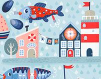 Seaside Nautical Pattern Illustration Design