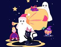 抖音&西瓜视频万圣招商插画——Ju(julin插画师) 万圣节