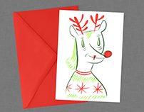 Le petit renne au nez rouge, one of a kind Holiday card