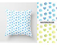 Watercolor sweet seamless patterns