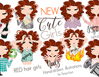Red Hair Girls Emoji Nail Sticker