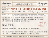 WWII-Themed Telegram Birthday Invitation