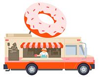 Foodtrack flat style illustration