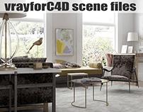 Living Room Scene - (VRayforC4D Scene files available)