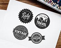 Free Retro Stickers Vector Set