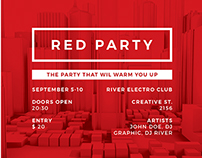 Red Party Minimal Poster