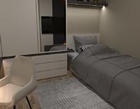 Minimalist teenager room interior