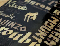 Custom made lettering skateboard graphic