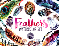 Watercolor Boho Feather DIY Set