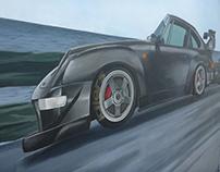 Wall painting. Porsche 911/RWB